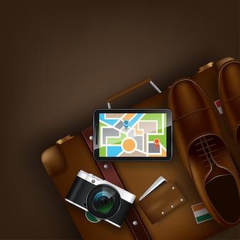 世界への旅。世界へ旅行します。休暇ロードトリップ観光。ランドマークでスーツケースを開きます。旅。旅行イラスト