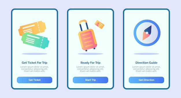 Trip or travel concept with ticket luggage and compass for mobile apps template banner page ui with three variations modern flat color style vector