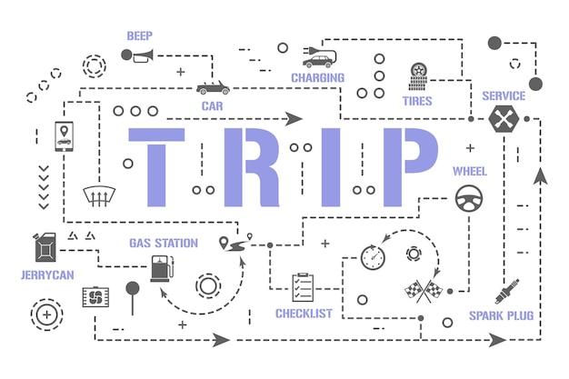 여행 단어 개념 배너입니다. 여행을 위한 자동차 준비. 서비스 차량 자동 인포 그래픽. 프레젠테이션, 웹사이트. ui ux 아이디어. 글리프 아이콘이 있는 격리된 레터링 타이포그래피. 벡터 평면 그림입니다.