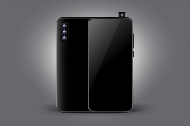 Triple camera black smartphone concept mockup
