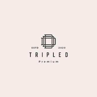 Triple d monogram ddd letter hipster retro vintage lettermark logo for branding