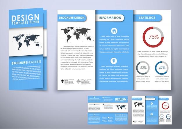 Тройной складной шаблон брошюры Premium векторы