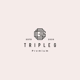 Triple g monogram ggg letter hipster retro vintage lettermark logo for branding