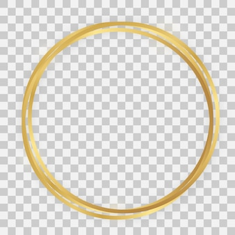 Triple gold shiny circle frame with glowing effects and shadows on transparent background. vector illustration