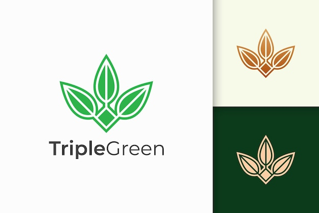 Triple leaf or flower logo in feminine and luxury style for health and beauty