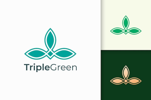Triple leaf logo in feminine and luxury style for health and beauty
