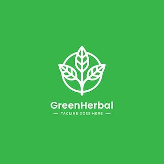 Triple leaf natural organic logo design in outline