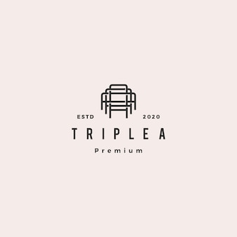 Triple a monogram aaa letter hipster retro vintage lettermark logo for branding