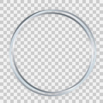 Triple silver shiny circle frame with glowing effects and shadows on transparent background. vector illustration