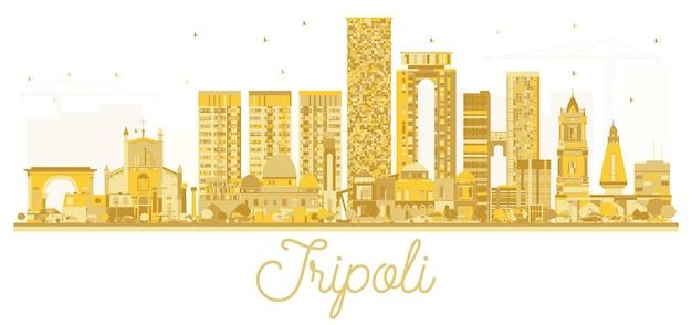 Золотой силуэт горизонта города ливии триполи. векторная иллюстрация.