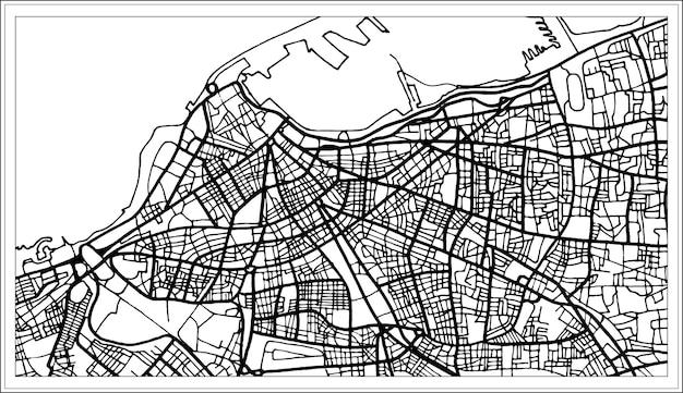 Карта ливии триполи в черно-белом цвете. векторные иллюстрации. контурная карта.