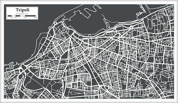 Карта ливии триполи в стиле ретро. векторные иллюстрации. контурная карта.
