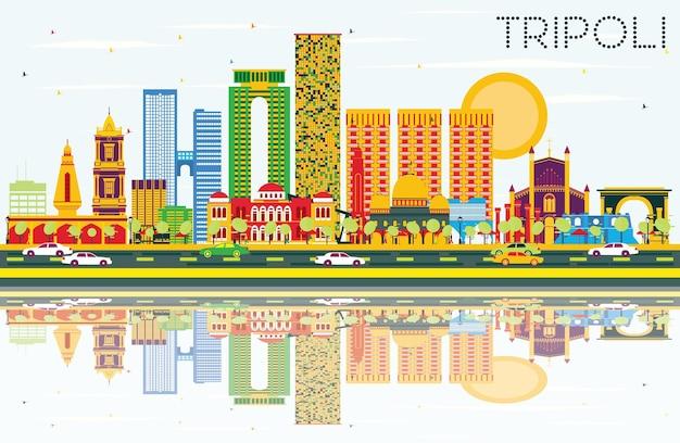 Горизонт триполи с цветными зданиями, голубым небом и отражениями. векторные иллюстрации. деловые поездки и концепция туризма с историческими зданиями. изображение для рекламного баннера и веб-сайта.
