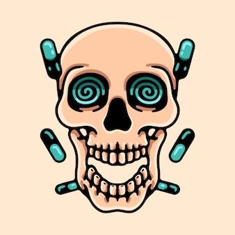 トリッピーな頭蓋骨とピルのイラスト