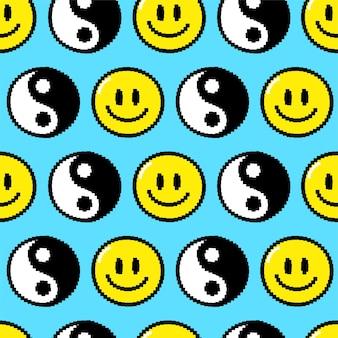 Trippy улыбающееся лицо, бесшовный фон пиксель арт инь ян. векторный мультфильм графический дизайн иллюстрации. триппи улыбающееся лицо, психоделический, пиксельное искусство техно, 8-битный, 16-битный стиль печати для плаката, концепция футболки