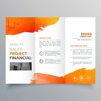 Triptych brochure with orange paint