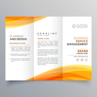 Triptych brochure with orange shapes