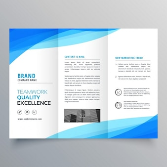Triptych leaflet with blue wavy shapes