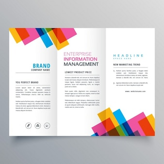 Triptych leaflet with colorful geometric shapes