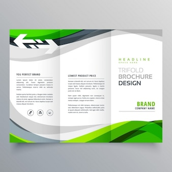 Triptych leaflet with green wavy shapes