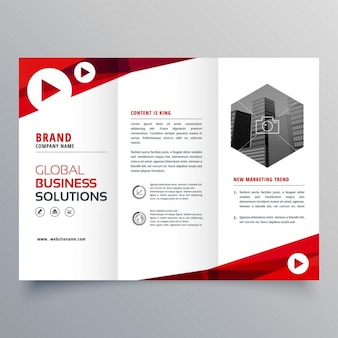 Triptych leaflet with red wavy shapes
