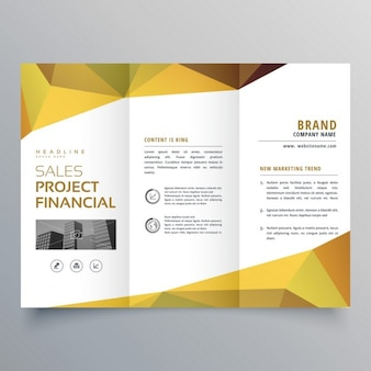 Triptych leaflet with yellow shapes