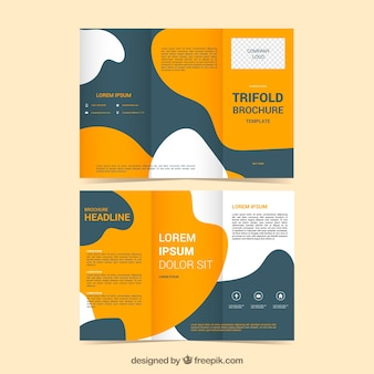 Triptych template with abstract shapes