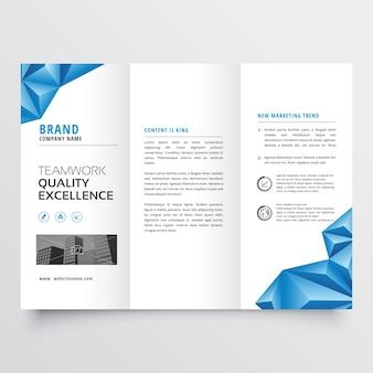 Design brochure volantino a tre ante con geometrici blu forme astratte