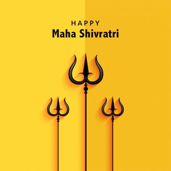 Trishul illustration for shivratri festival greeting card