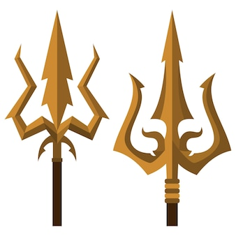 Trishul indian trident cartoon icons set isolated on a white background.