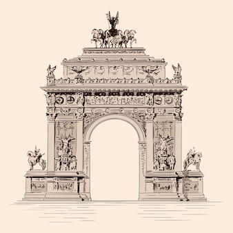 고전적인 르네상스가 합쳐진 조각상이있는 triumphal arch. 수제 스케치
