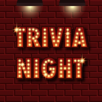 Trivia night announcement poster vintage styled light bulb box letters shining on dark background