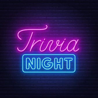 Trivia night neon sign on a brick wall background illustration