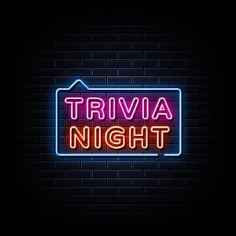 Trivia night neon signs style text on a black wall background