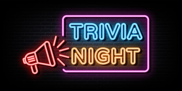 Trivia night neon signs vector design template neon sign