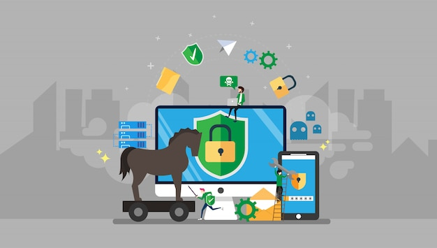 Trojan horse and malware protection tiny people character illustration