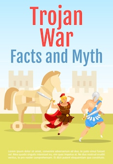 Trojan war facts and myths brochure template. battle scene with gladiators. flyer, booklet, leaflet concept with flat illustration.  page cartoon layout for magazine. invitation with text space