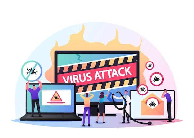 Pc의 트로이 웜 바이러스 공격의 경고 표시와 함께 거대한 컴퓨터에서 작은 남성과 여성 캐릭터. 사이버 공간 보안 및 해커 공격 방어 서비스. 만화 사람들 벡터 일러스트 레이 션