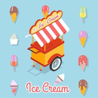 Тележка для продажи мороженого. набор различных видов мороженого на палочке и вафельном стаканчике.