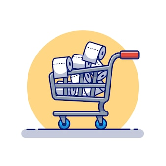Trolley full of toilet tissue paper roll   icon illustration.