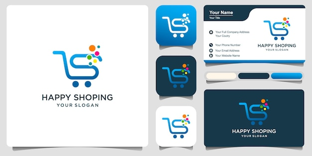 Trolley shop and letter s logo vector with business card . abstract business logo design.
