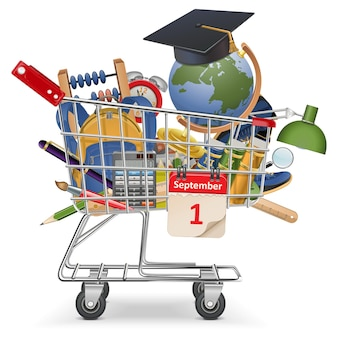 Trolley with school supplies isolated