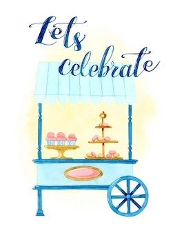 Trolley with sweets celebration watercolor card invitation
