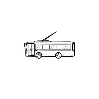 무궤도 전차 손으로 그린 개요 낙서 아이콘입니다. 도시 대중 교통 및 교통, 트롤리 코치 여행 개념