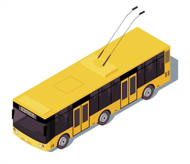 トロリーバス等尺性カラーイラスト。市の公共交通機関のインフォグラフィック。生態学的な都市交通。無軌道のトロリー。白い背景に分離された電気自動車3 dコンセプト