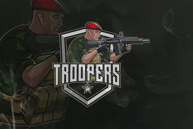 Troopers gaming army mascot and esport logo