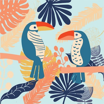 Tropcal birds toucan colourful and bright vector