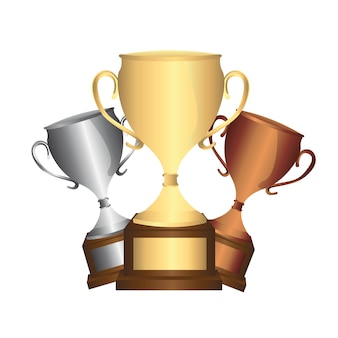 Trophies isolated over white background vector illustration