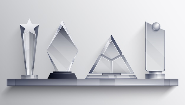 Trophies shelf realistic concept with winner symbols