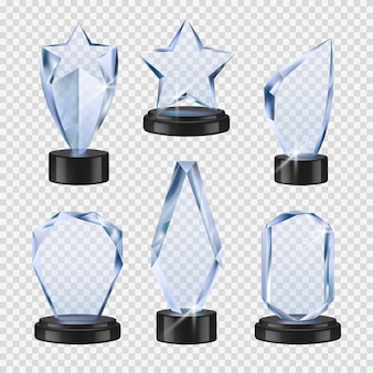 Trophies transparent. crystal cups awards event symbols realistic glass winner trophies collection
